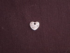 Charm Silver Colored Tiny Heart With Love Word