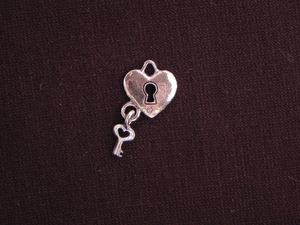 Charm Silver Colored Heart Lock With Key