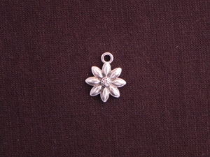 Charm Silver Colored Eight Petal Flower