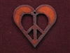 Rusted Iron Heart With Peace Cut Out Pendant