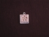 Charm Silver Colored Square With Flower Stamp & Friends