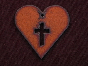 Rusted Iron Heart With Cross Cut Out Pendant