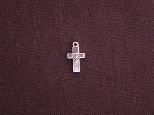 Charm Silver Colored Tiny Cross With Heart