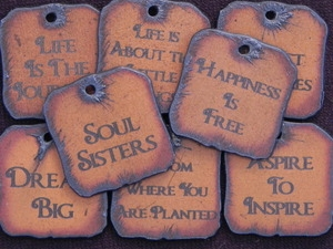 20 Funky Square Rusted Iron Inspirational Pendants (Mix & Match) for $70.00