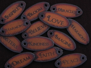 10 Oval Rusted Iron Inspirational Pendants (Mix & Match) for $35.00