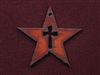 Rusted Iron Star With Cross Cut Out Pendant