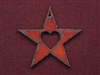 Rusted Iron Star With Heart Cut Out Pendant