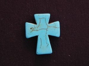 Cross Large Turquoise Colored Howlite/Magnesite