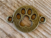 Charm Antique Bronze Colored Paw Print Cut Out Spacer