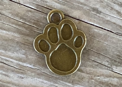 Charm Antique Bronze Colored Paw Print