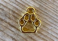 Charm Gold Colored Mini Open Paw Print