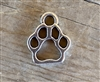 Charm Silver Colored Mini Open Paw Print