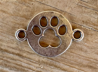 Charm Silver Colored Paw Print Cut Out Spacer