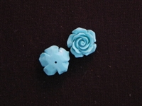 Rose Turquoise Acrylic Resin Half Drilled Hole On Back
