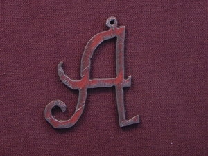 Rusted Iron Initial A Pendant