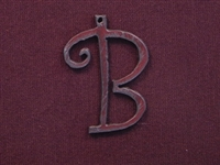 Rusted Iron Initial B Pendant