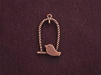 Pendant Antique Copper Colored Chubby Bird On Oval Perch