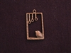 Pendant Antique Copper Colored Chubby Bird In Square Cage