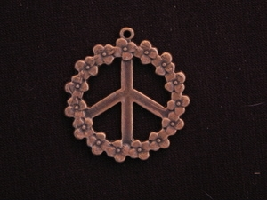 Pendant Antique Copper Colored Floral Peace Sign