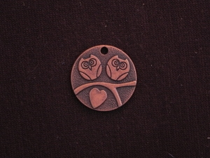 Pendant Antique Copper Colored Round Tag With Twin Owls