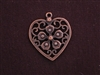 Pendant Antique Copper Colored Flower On Heart