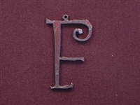 Rusted Iron Initial F Pendant