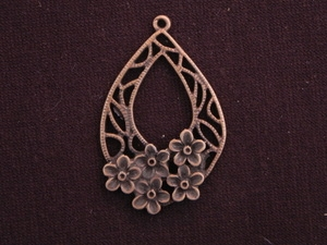 Pendant Antique Copper Colored Tear Drop With Raised Flowers