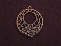 Pendant Antique Copper Colored Circle With Raised Flowers