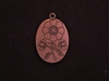 Pendant Antique Copper Colored Oval With Etched Flower