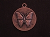 Pendant Antique Copper Colored Round Medallion With Butterfly