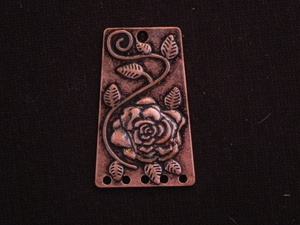 Pendant Antique Copper Colored 5 Connector Rectangle With Flower