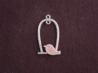 Pendant Silver Colored Chubby Bird On Oval Perch