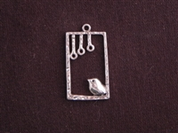 Pendant Silver Colored Chubby Bird In Square Cage