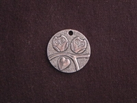 Pendant Silver Colored Round Tag With Twin Owls