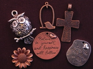 50 Antique Copper Colored Or Silver Colored Pendants (Mix & Match) for $125.00