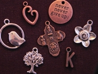 60 Antique Copper Colored, Antique Bronze Colored Or Silver Colored Charms (Mix & Match) for $75.00