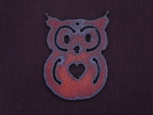 Rusted Iron Owl With Heart Pendant