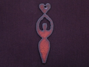 Rusted Iron Goddess Holding Heart Pendant