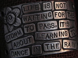 American Pewter Leather Cuff Plate LIFE IS NOT WAITING FOR THE STORM TO PASS, ITS ABOUT LEARNING TO DANCE IN THE RAIN