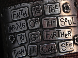 American Pewter Leather Cuff Plate FAITH IS THE DARING OF THE SOUL TO GO FARTHER THAN IT CAN SEE