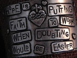American Pewter Leather Cuff Plate HOPE IS PUTTING FAITH TO WORK WHEN DOUBTING WOULD BE EASIER