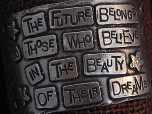 American Pewter Leather Cuff Plate THE FUTURE BELONGS TO THOSE WHO BELIEVE IN THE BEAUTY OF THEIR DREAMS