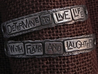 American Pewter Double Leather Cuff Plates DETERMINE TO LIVE LIFE WITH FLAIR AND LAUGHTER