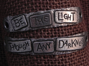 American Pewter Double Leather Cuff Plates BE THE LIGHT THROUGH ANY DARKNESS