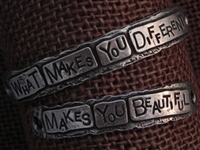 American Pewter Double Leather Cuff Plates WHAT MAKES YOU DIFFERENT MAKES YOU BEAUTIFUL