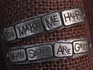 American Pewter Double Leather Cuff Plates YOU MAKE ME HAPPY WHEN SKIES ARE GREY