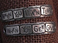 American Pewter Double Leather Cuff Plates WHEN YOU LEARN TEACH WHEN YOU GET GIVE