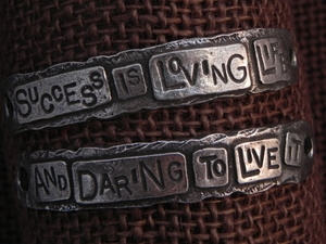 American Pewter Double Leather Cuff Plates SUCCESS IS LOVING LIFE AND DARING TO LIVE IT