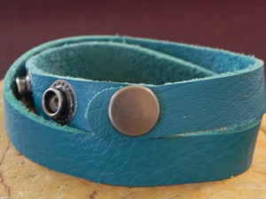 Leather Cuff Double Wrap Bracelet Turquoise