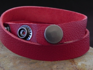 Leather Cuff Double Wrap Bracelet Red